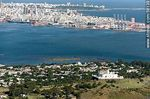 Photo #58139 - Aerial view of Cerro, its fortress, the bay and the city of Montevideo. Port and Punta Carretas.