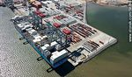 Photo #58248 - Aerial view of cranes at Terminal Cuenca del Plata in operation unloading containers from a freighter Maersk Line