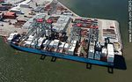 Foto #58245 - Aerial view of cranes at Terminal Cuenca del Plata in operation unloading containers from a freighter Maersk Line
