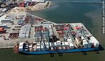 Photo #58244 - Aerial view of cranes at Terminal Cuenca del Plata in operation unloading containers from a freighter Maersk Line