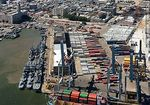 Foto #58243 - Aerial view of container yard. Navy ships.