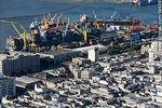 Foto #58436 - Aerial view of the Ciudad Vieja and the port. Cargo containers