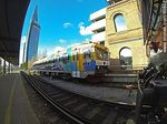 Foto #60802 - Platform of the Central Station with a Swedish train and Antel tower at background