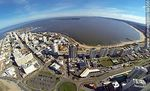 Photo #64556 - Aerial photo of Playa Mansa, bus terminal buildings and Punta del Este, Santos Dumont and promenade towers Williman