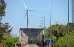 Photo #69927 - Bridge on Route 7 over the Santa Lucia River and wind energy mills